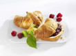 Croissants, plain and with raspberry jam