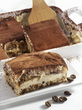 Tiramisu in the dish and on a plate