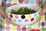 polka dots bowl of salad and apron poster