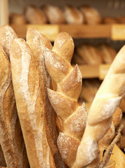 Various types of bread in a baker's shop