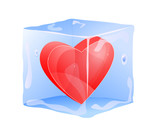 red heart frozen in ice cube