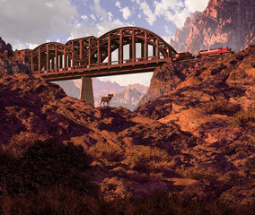 Diesel Locomotive And Desert Bighorn Sheep