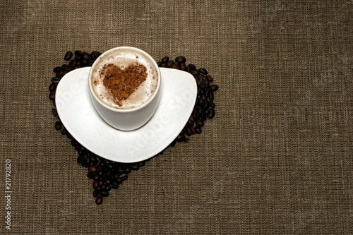 Coffee with heart on hessian