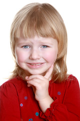 Happy little girl make funny face