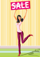 fashion shopping girls with board sale -  vector illustration