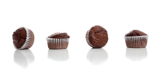 Chocolate chip muffins on white