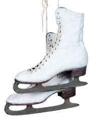 White ice skates on a white background