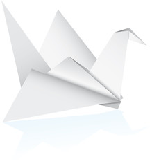 vector An origami bird. paper bord on white - vector