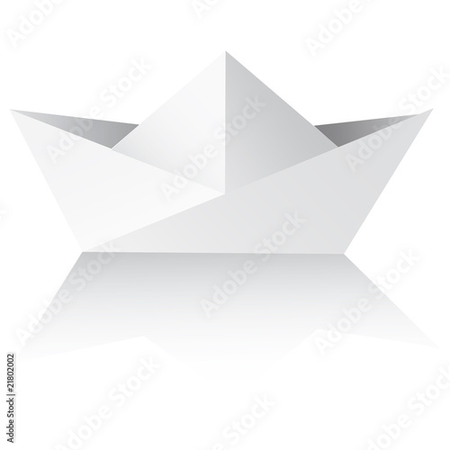 Vector An origami ship on a white background