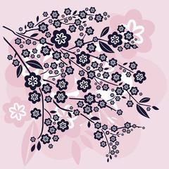 Branche de Cerisier en Fleurs - Rose et Beige
