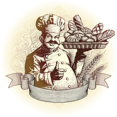 drzeworyt stylu baker z chleba
