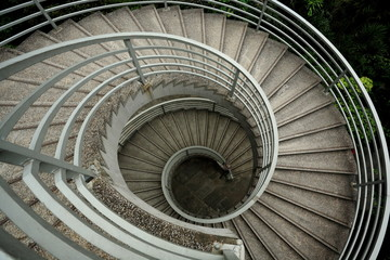 spiraling stairs , low saturation