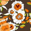Stylized seamless wallpaper with orange flowers