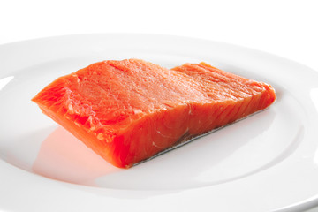 pink salmon on white plate