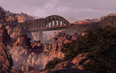 Train And Bridge Over Canyon In The Southwest