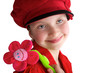 Little girl with red dress and red hat
