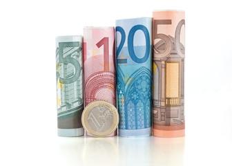 euro banconote arrotolate