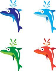 Four cartoon dolphins
