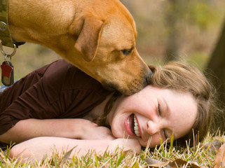 Happy girl with dog