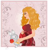 The pregnant woman with a plush hare. vector. poster