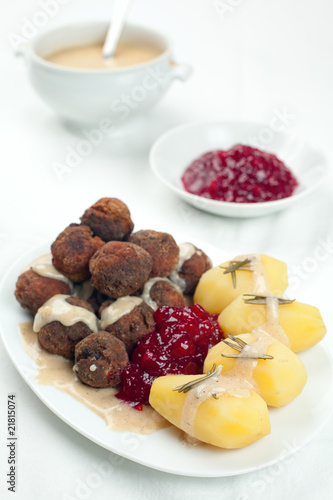 Swedish Kottbullar meatball with brunsas sauce, boiled potatoes
