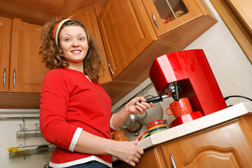 woman with coffee machine
