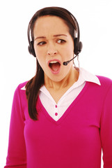 Shocked call centre representative