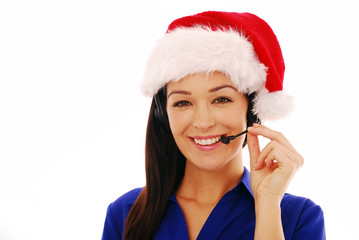 Friendly customer service agent wearing santa hat