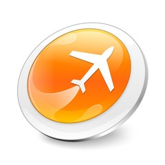 Orange 3d airplane icon