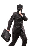 A man in robbery mask stealing a briefcase poster