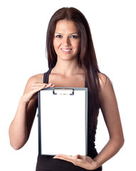 Happy student girl with blank clipboard