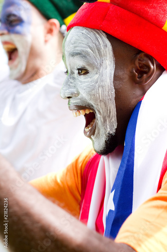 very excited african sports fan