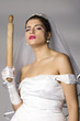 Bridezilla with wooden rolling pin