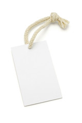 Blank white tag with string