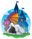 Giant purple dragon near cave-