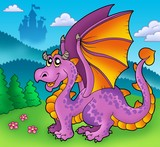 Giant purple dragon with old castle-