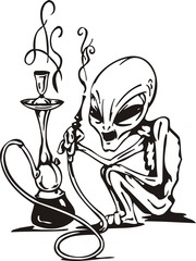 The alien smokes a hookah.