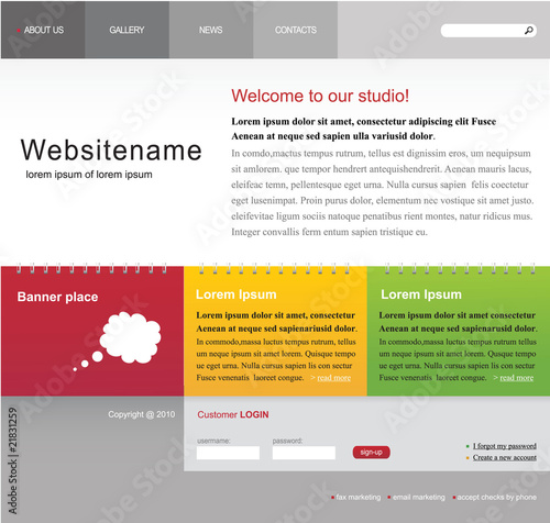 Web site editable template