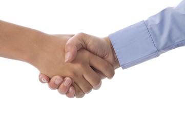 Mutter und Sohn geben sich die Hand, Partnerschaft, Großaufnahme
