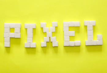 "Word ""pixel"" from sugar slices"