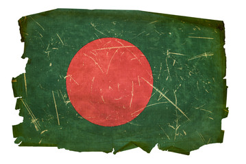 Bangladesh Flag old, isolated on white background.