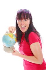 lachende Frau mit Globus