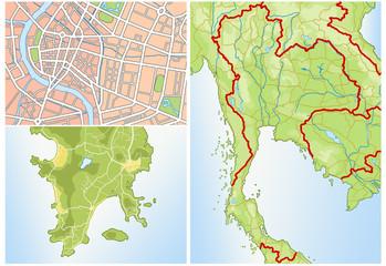 Landkarte von Thailand ohne Text