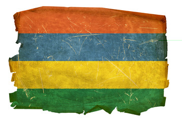 Mauritius Flag old, isolated on white background.