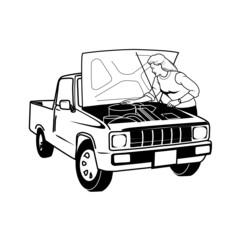 garagiste, contrôle, illustration