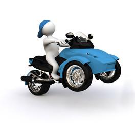 3D Man Blue Trike