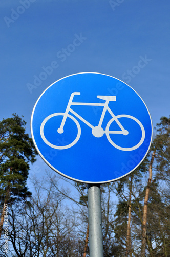 A photo of bicycle traffic sign.