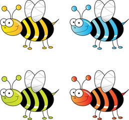 Four Cartoon bees