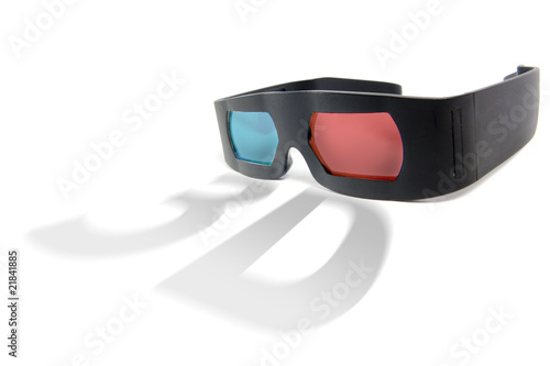 photo of modern 3D glasses isolated on white