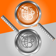 Globe and gear. Vector magnifying glass.